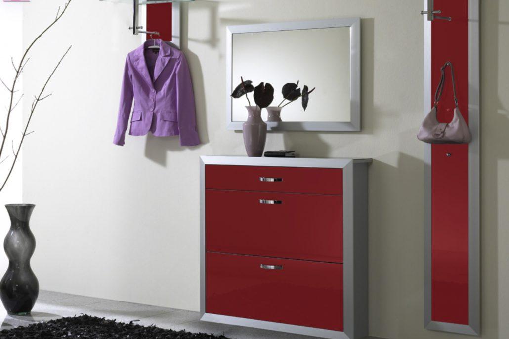 Schuhschrank Alu - Front rotes Glas - erhältlich in verschiedenen Farben